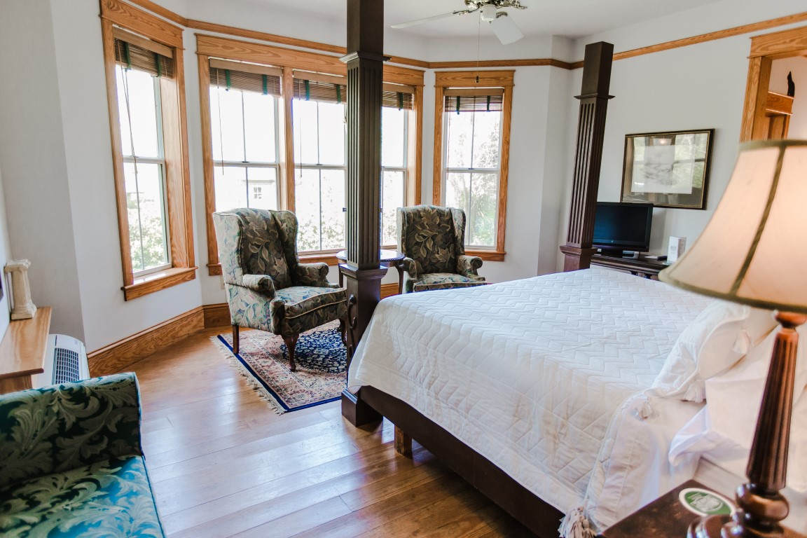 Downstairs Room 3 King Bed and Bay Window